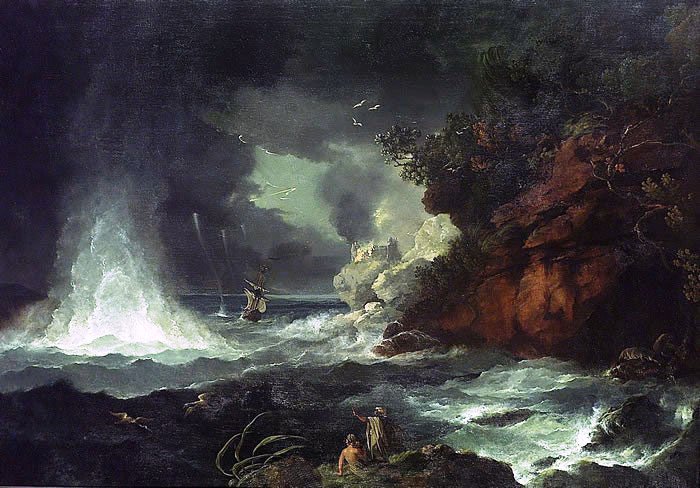 A View of Cape Stephens in Cook's Straits (New Zealand) with Waterspout, 1776