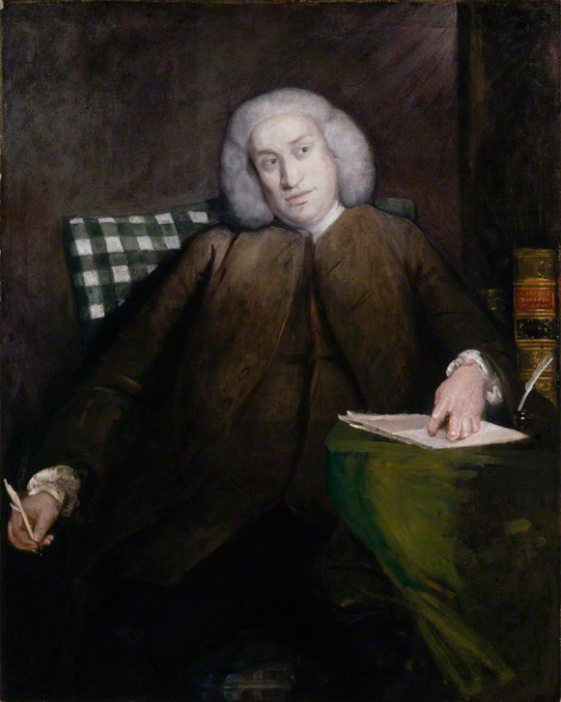 'Samuel Johnson', by Sir Joshua Reynolds. Oil on canvas, 1756–1757. 1276 mm x 1016 mm. National Portrait Gallery, London.