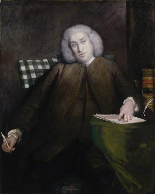 'Samuel Johnson', by Sir Joshua Reynolds. Oil on canvas, 1756–1757. 1276 mm x 1016 mm. National Portrait Gallery, London.