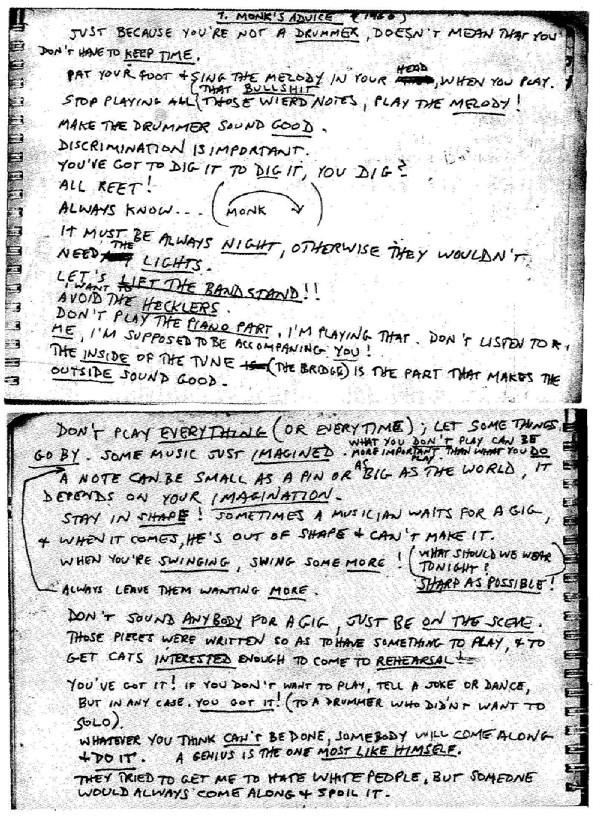 Advice from Thelonious Monk