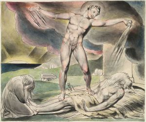 Blake - The examination of Job, Satan pours on the plagues of Job