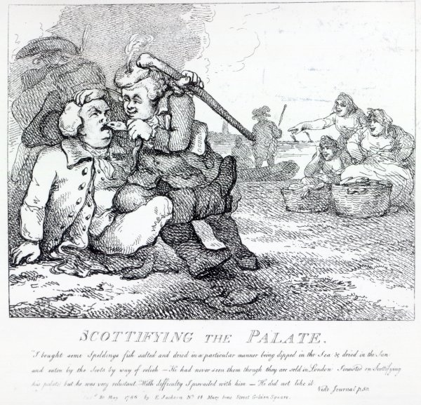 Scottifying the Palate from 'Picturesque Beauties of Boswell, Part the First', etched by Thomas Rowlandson, 1786 (etching) Samuel Collings—Read