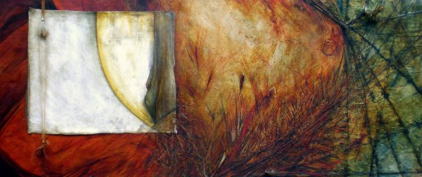 'The End of All our Exploring', 2007. Oil and mixed media on canvas, 2140mm x 920mm.