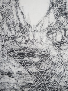 'The String Thing'. 2001. Monoprint on Stonehenge. 420mm x 590mm.