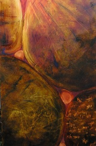 'Time Spent', 2005. Oil paint and mixed media on canvas. 300mm x 900mm.