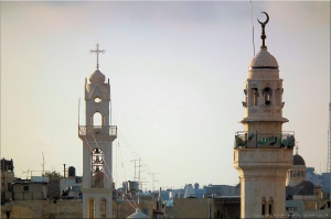 The Syrian Orthodox Church and the Omar Mosque, Old Town, Bethlehem, Palestine.