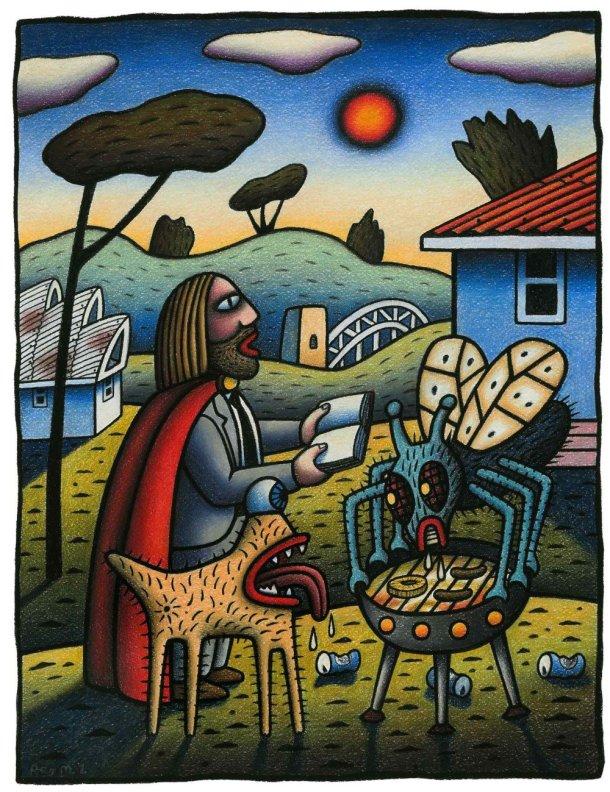 BBQ, Australia Jesus by Reg Mombassa