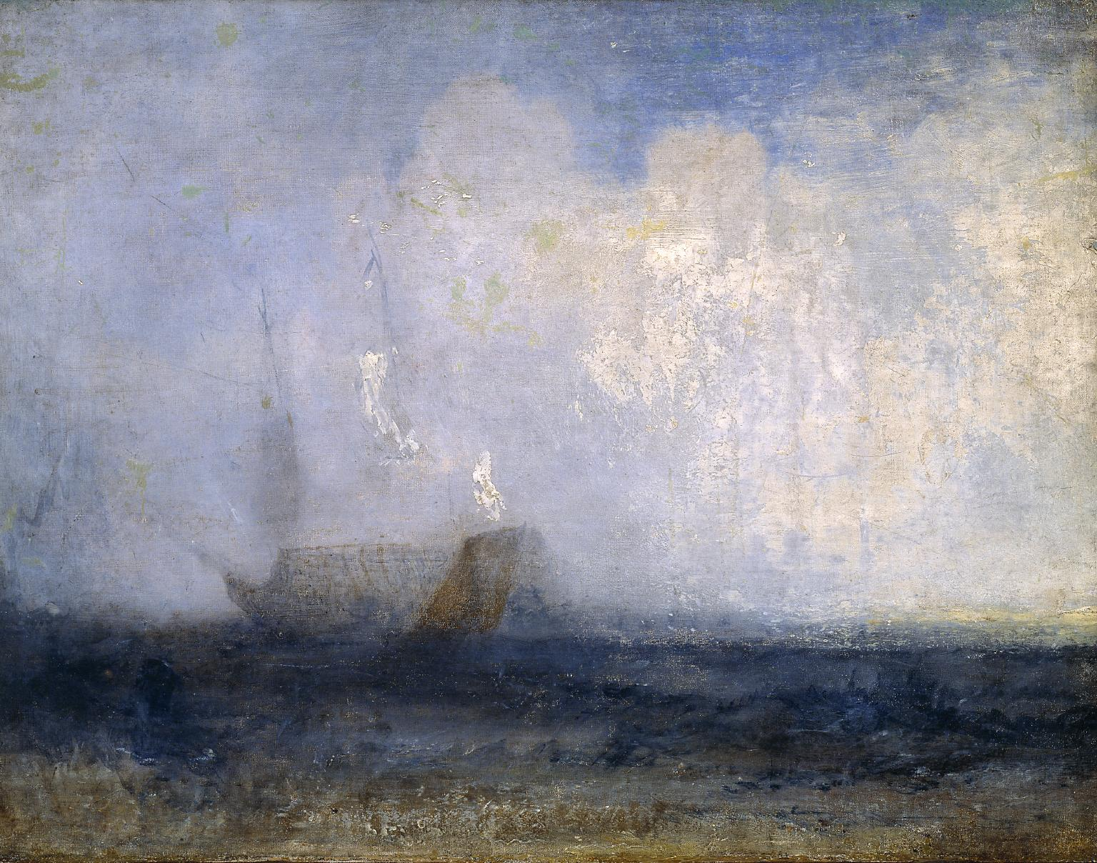 J. M. W. Turner, Seascape with a Sailing Boat and a Ship, c.1825–30. Oil on canvas, 46.7 × 61 cm. The Tate Gallery, London.jpg
