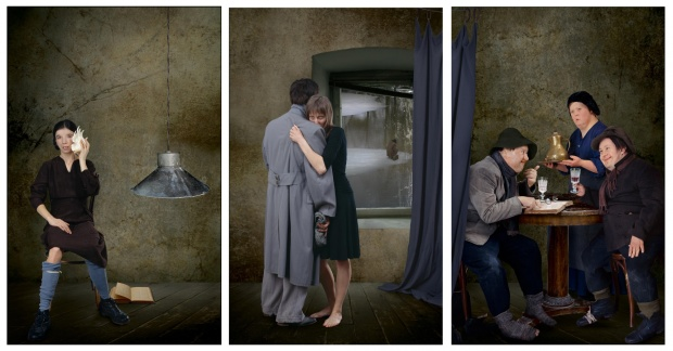 Supper at Emmaus. Triptych #1 of polyptych from 9 parts, 2007. Lambda print, Diasec on Dibond, wood frame, 191 × 363 cm.jpg