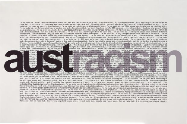 Vernon Ah Kee, 'Austracism', 2003. Prints, digital print, printed in colour inks, from digital file, 120.0 x 180.0 cm. National Gallery of Australia, Canberra